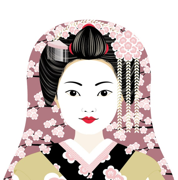 Japanese Geisha Doll Art Print with traditional dress matryoshka