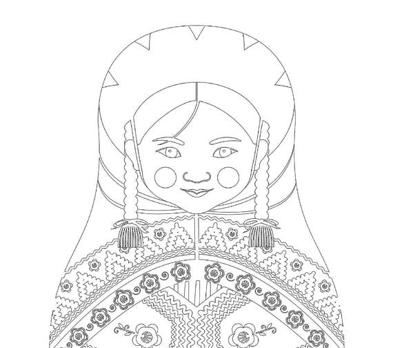 Peruvian Doll Folk Dress Coloring Sheet Printable Matryoshka