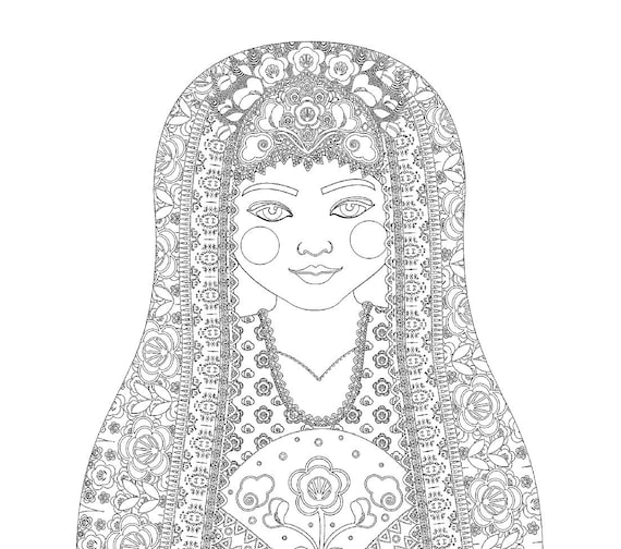 Uzbek Doll Traditional Dress Coloring Sheet Printable Matryoshka