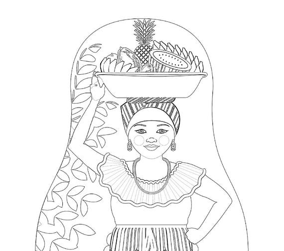 Colombian Palenquera Cartagena Folk Dress Coloring Page Printable