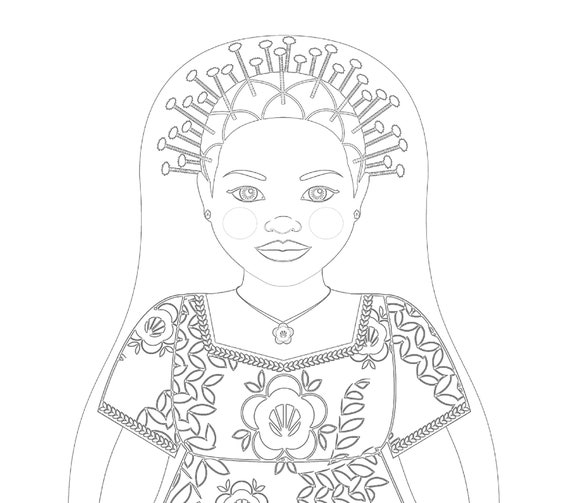 Congolese Doll, Traditional Folk Dress, Coloring Sheet Printable