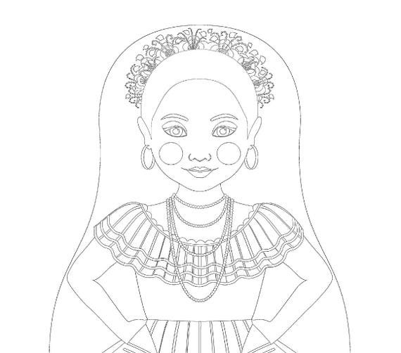 Nicaraguan Doll Folk Dress Coloring Sheet Printable Matryoshka