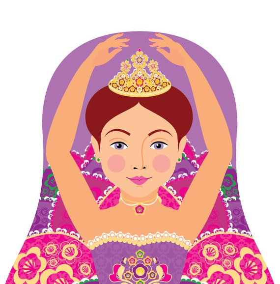 Sugar Plum Fairy Doll Art Print with traditional dress matryoshka