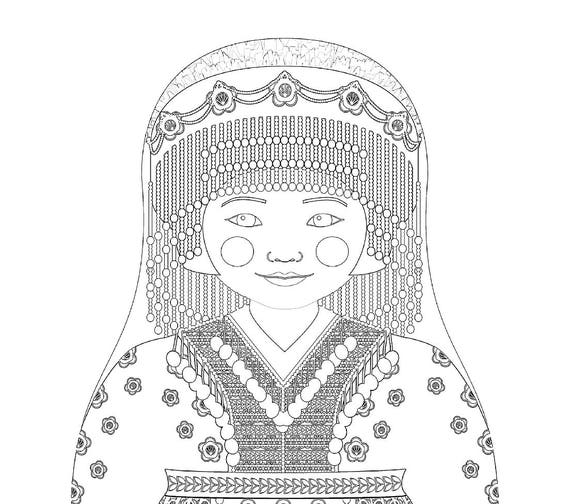 Hmong Doll Traditional Dress Coloring Sheet Printable Matryoshka