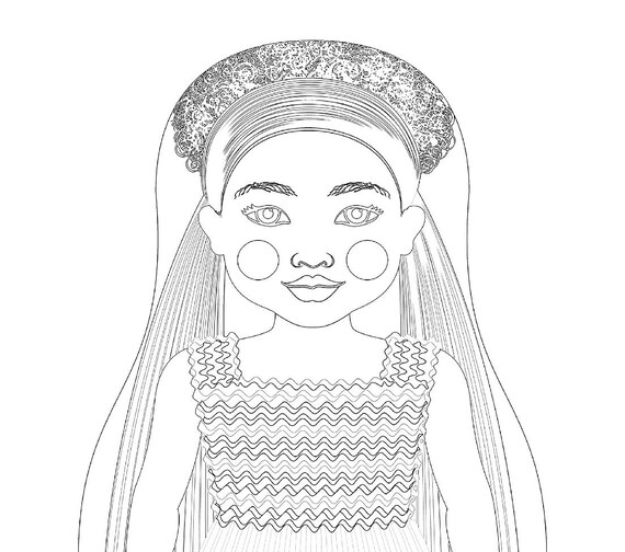 Ethiopian Doll Traditional Folk Dress Coloring Sheet Printable