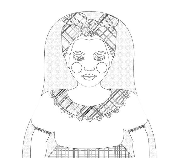 Jamaican Doll Folk Dress Coloring Sheet Printable Matryoshka
