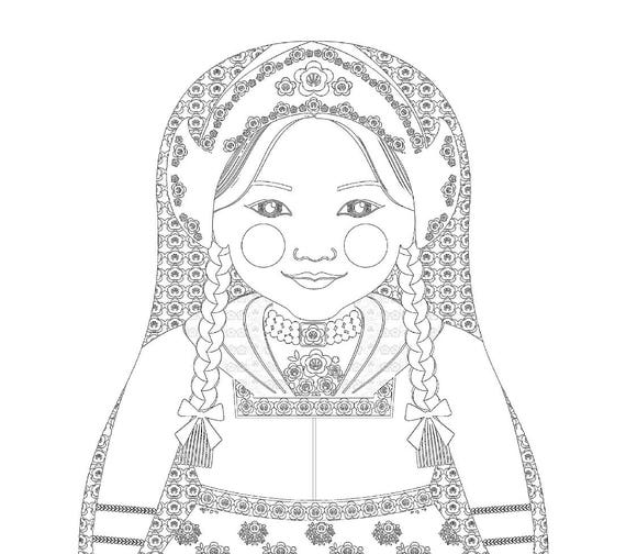 Dutch Doll Traditional Dress Coloring Sheet Printable Matryoshka
