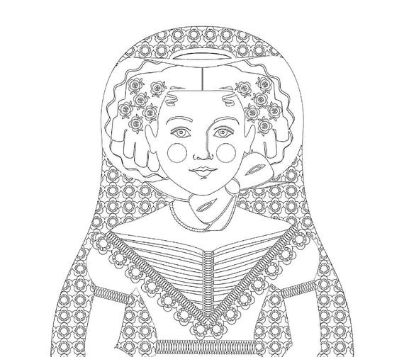 English Ivy Doll, Folk Dress Coloring Sheet Printable, Matryoshka