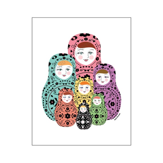 Matryoshka, Russian Nesting Doll Family printable art file