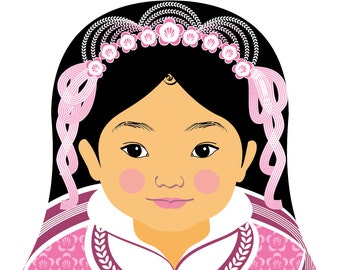 Chinese Pink HanFu Wall Art Print featuring culturally traditional dress drawn in a Russian matryoshka nesting doll shape