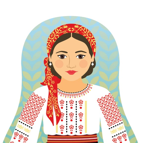 Moldovan Doll Art Print with traditional folk dress, matryoshka