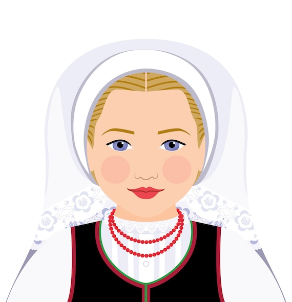 Croatian Lika Doll Art Print with traditional folk dress, matryoshka