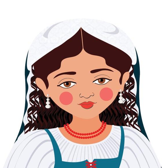 Italian Doll Art Print with traditional folk dress, matryoshka