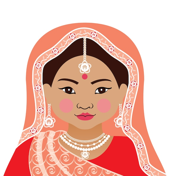 Indian Doll Art Print with traditional folk dress matryoshka