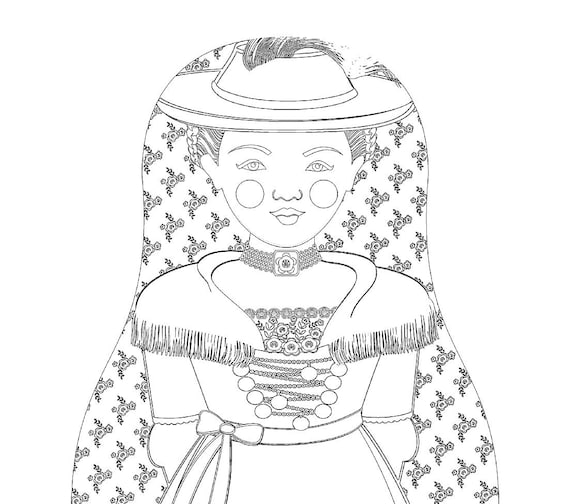 German Bavarian Doll Traditional Dress Coloring Sheet Printable