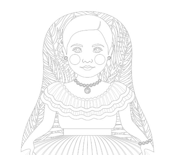 Dominican Doll Folk Dress Coloring Sheet Printable Matryoshka