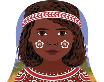 Aboriginal Australian Wall Art Print features cultural dress drawn in a Russian matryoshka nesting doll shape