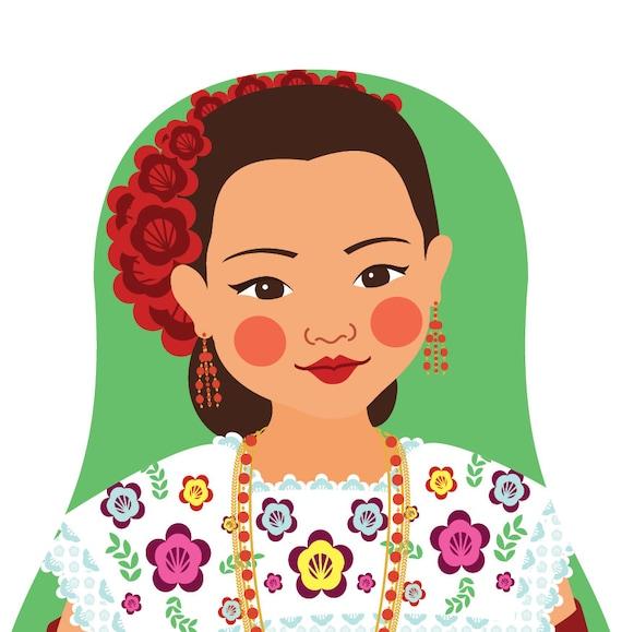 Mexican Yucatan Doll Art Print with traditional dress, matryoshka