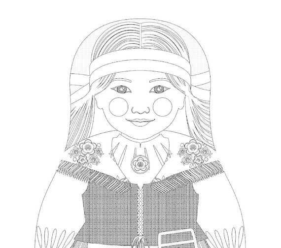 Finnish Doll Folk Dress Coloring Sheet Printable, matryoshka
