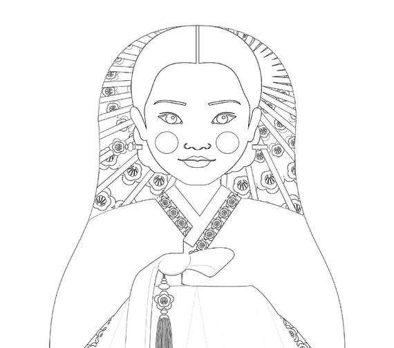 Korean Doll Traditional Dress Coloring Sheet Printable Matryoshka