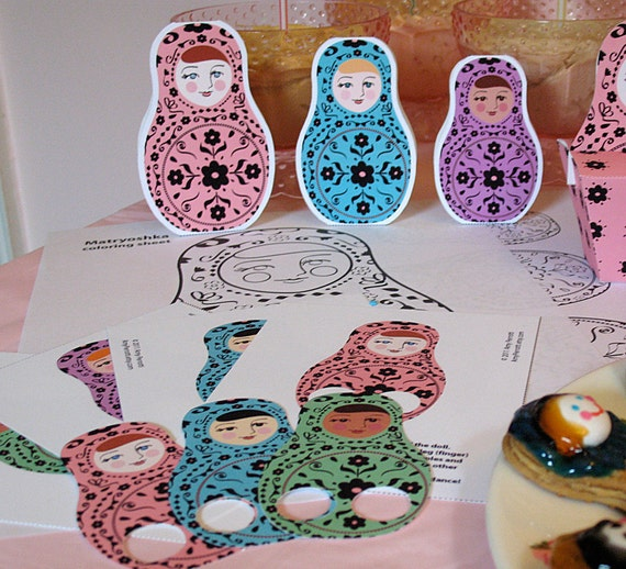 Matryoshka Party Activities Printable file, Nesting Dolls