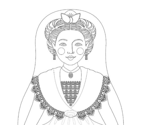 French, Arles, Provence Doll Folk Dress Coloring Sheet Printable