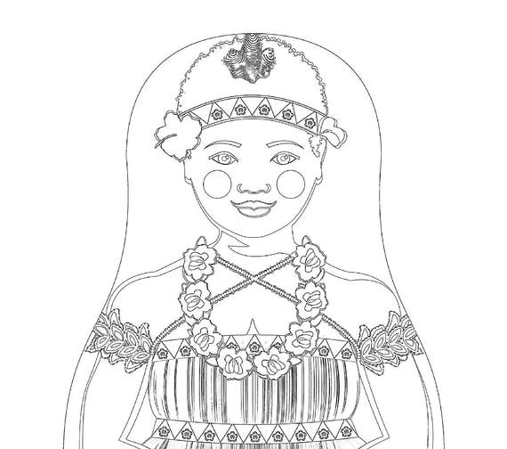 Bougainvillean Doll Traditional Dress Coloring Sheet Printable
