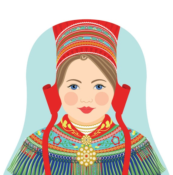 Sami Doll Art Print with traditional folk dress, matryoshka