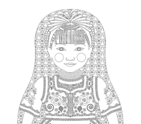 Hungarian Doll Folk Dress Coloring Sheet Printable Matryoshka