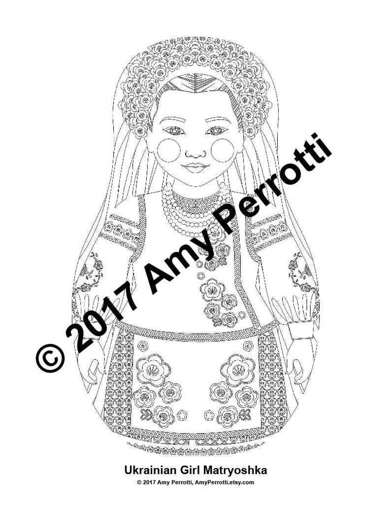 Ukrainian Girl Matryoshka Coloring Sheet Printable file | Etsy