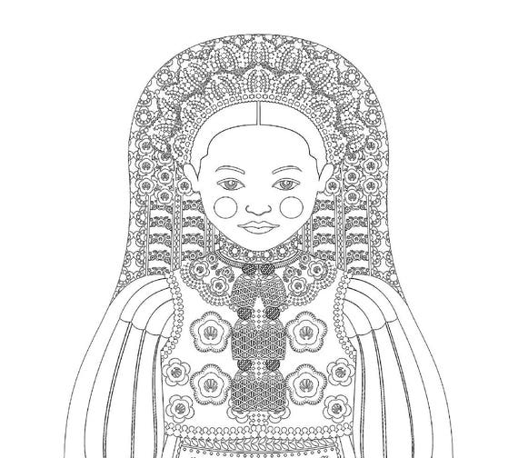 Hungarian, Kalotaszeg, Transylvania Doll Coloring Sheet Printable
