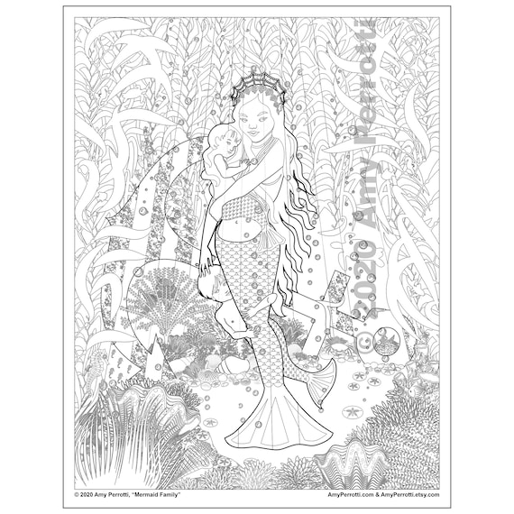 Mermaid Family coloring page printable file