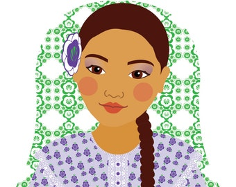 Argentine Wall Art Print features cultural traditional dress drawn in a Russian matryoshka nesting doll shape