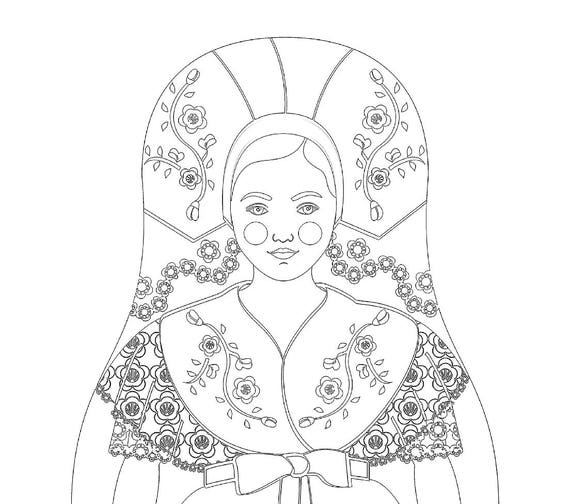 Sorb Wend Lusatian Doll Traditional Dress Coloring Page Printable