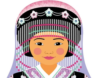 Hmong Wall Art Print featuring culturally traditional dress drawn in a Russian matryoshka nesting doll shape