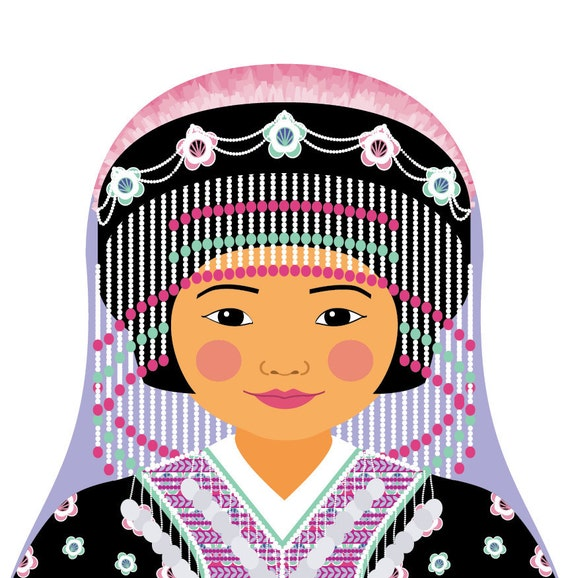 Hmong Doll Art Print with traditional folk dress, matryoshka