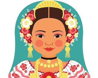 Panamanian Wall Art Print with culturally traditional dress drawn in a Russian matryoshka nesting doll shape