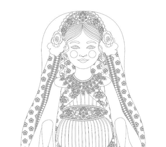 Queen Esther Doll Traditional Dress Coloring Sheet Printable