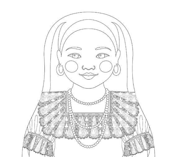 Salvadoran Doll Folk Dress Coloring Sheet Printable Matryoshka