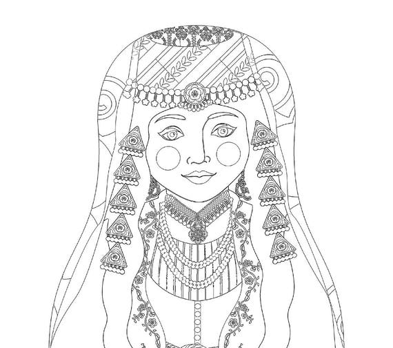Lebanese Doll Folk Dress Coloring Sheet Printable Matryoshka