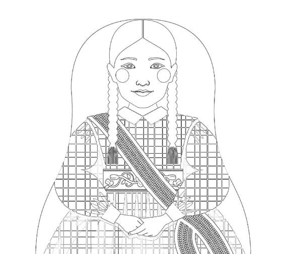 Métis Nation of Canada Traditional Dress Coloring Sheet Printable