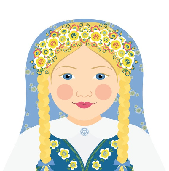 Swedish Doll Art Print with traditional folk dress, matryoshka