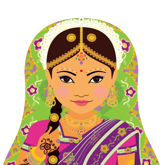 South Indian Bride Doll Art Print with traditional dress, matryoshka