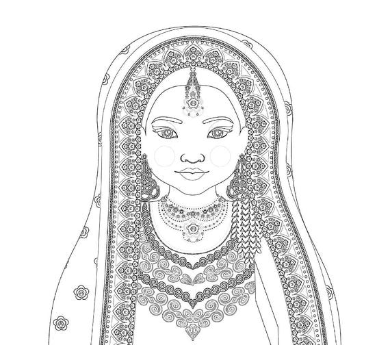 Pakistani Doll Folk Dress Coloring Sheet Printable Matryoshka