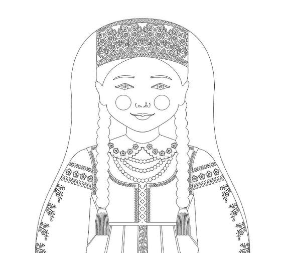 Lithuanian Doll Folk Dress Coloring Sheet Printable Matryoshka