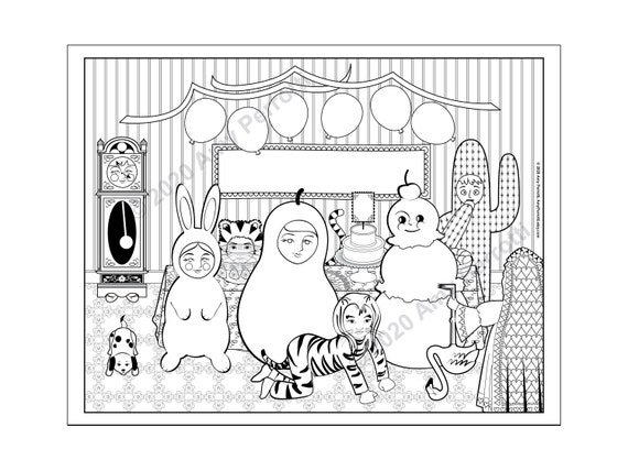 Matryoshka Throws A Costume Party coloring page printable file