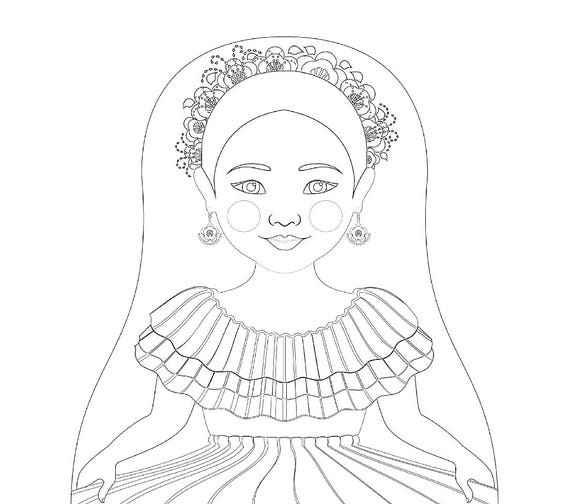 Colombian Dancer Doll Traditional Dress Coloring Sheet Printable