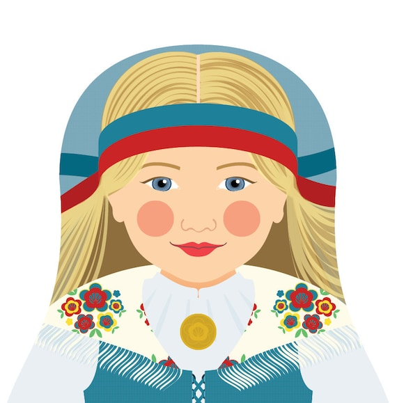 Finnish Doll Art Print with traditional folk dress, matryoshka