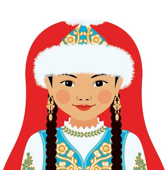 Kazakh Doll Art Print with traditional folk dress, matryoshka