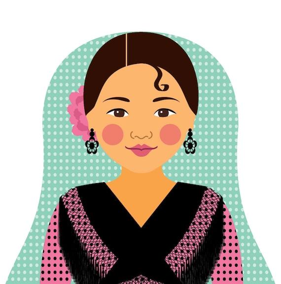 Spaniard Pink Dress Art Print, traditional folk dress matryoshka